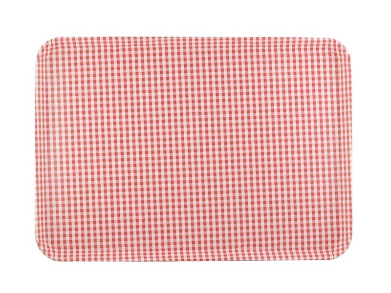Tray with a red Gingham pattern