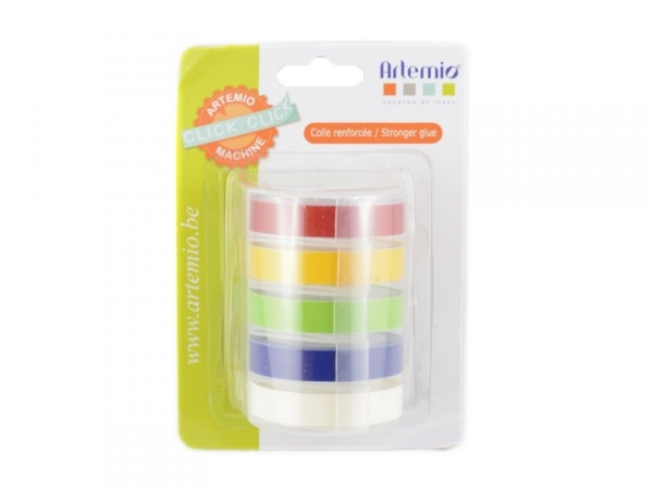5 rubans pour étiqueteuse click click - couleurs primaires