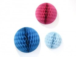 3 honeycomb balls - pink & blue