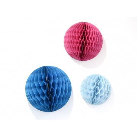 3 boules alvéolées - rose & bleu