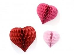 3 coeurs alvéolés - rose & rouge