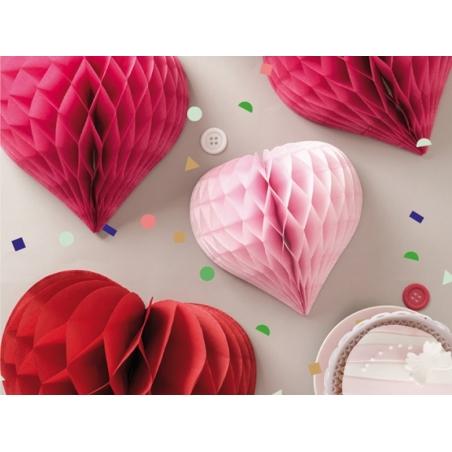 3 coeurs alvéolés - rose & rouge Rico Design - 2