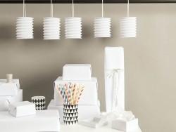 5 paper lanterns - pastel white