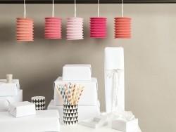 5 paper lanterns - pink