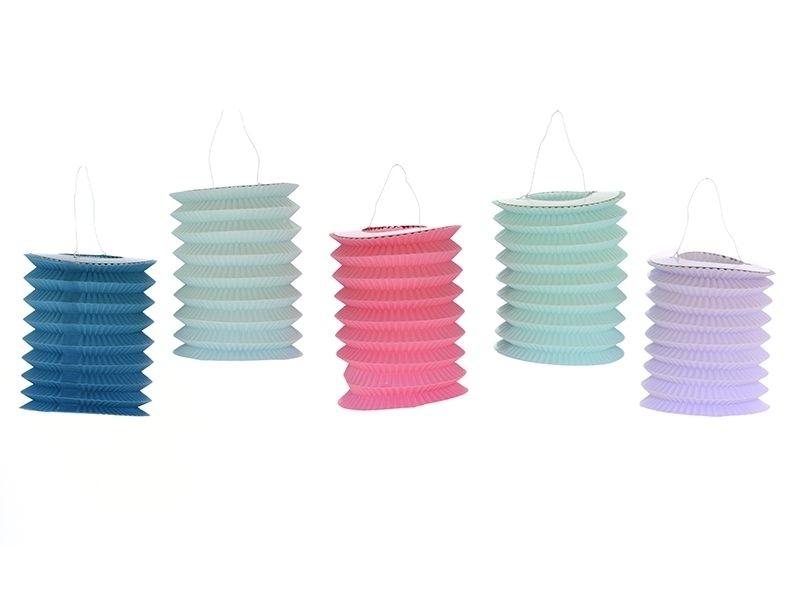 5 paper lanterns - pastel colours