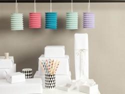 5 Papierlaternen - Pastellfarben