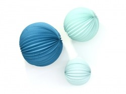 3 paper lanterns - aqua