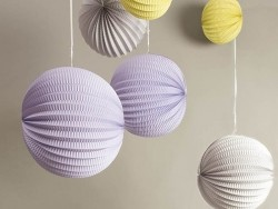 3 paper lanterns - pastel colours