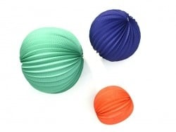 3 paper lanterns - various colours