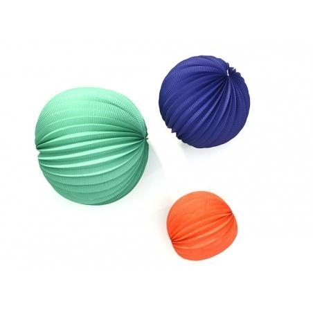 3 paper lanterns - various colours