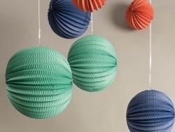 3 lampions en papier -multicolore