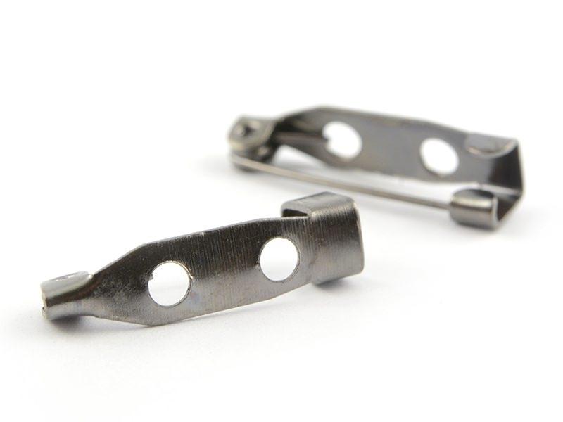 Dark silver-coloured brooch blank - 20 mm