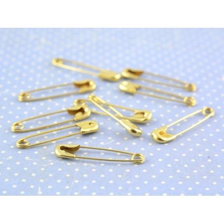 10 épingles à nourrice dorées - 20 mm  - 2
