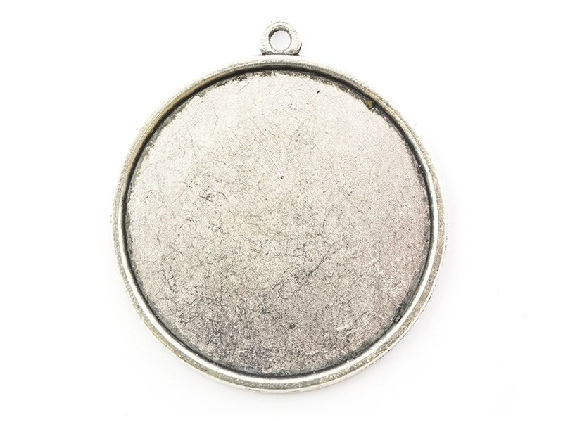1 round silver-coloured pendant with a cabochon base - 33 mm