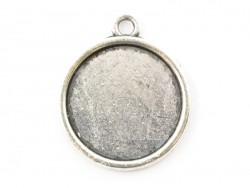 1 round silver-coloured pendant with a cabochon base - 23 mm