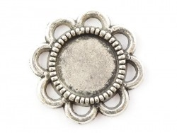 1 flower-shaped silver-coloured pendant with a cabochon base - 15 mm