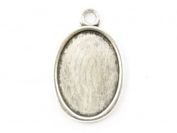 1 oval silver-coloured pendant with a cabochon base - 18 mm
