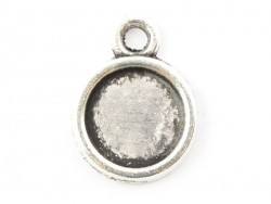 1 round silver-coloured pendant with a cabochon base - 15 mm