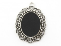 1 oval silver-coloured enamelled pendant with a cabochon base - 31 mm