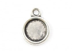 1 round silver-coloured pendant with a cabochon base - 11 mm