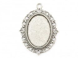 1 oval silver-coloured pendant with a cabochon base - 40 mm