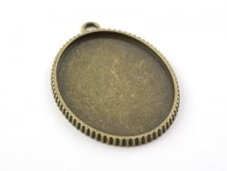 1 breloque support pour cabochon bronze ovale - 40 x 30 mm