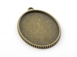 1 ovaler, bronzefarbene Anhänger mit einer Cabochonfassung - 48 mm