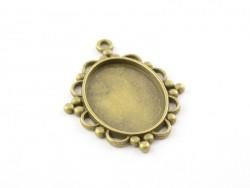 1 breloque support pour cabochon bronze fantaisie ovale - 25 x 13 mm