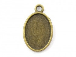 1 oval bronze-coloured pendant with a cabochon base - 25 mm