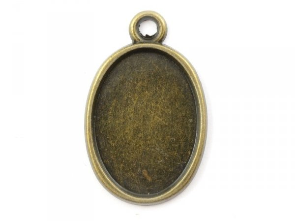 1 oval bronze-coloured pendant with a cabochon base on both sides - 25 mm