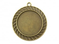 1 round bronze-coloured pendant with a cabochon base - 42 mm