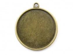 1 breloque support pour cabochon bronze rond - 25 mm