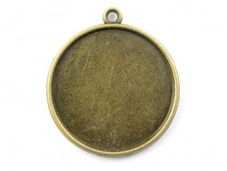 1 round bronze-coloured pendant with a cabochon base - 28 mm