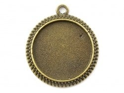 1 round bronze-coloured pendant with a cabochon base - 20.5 mm