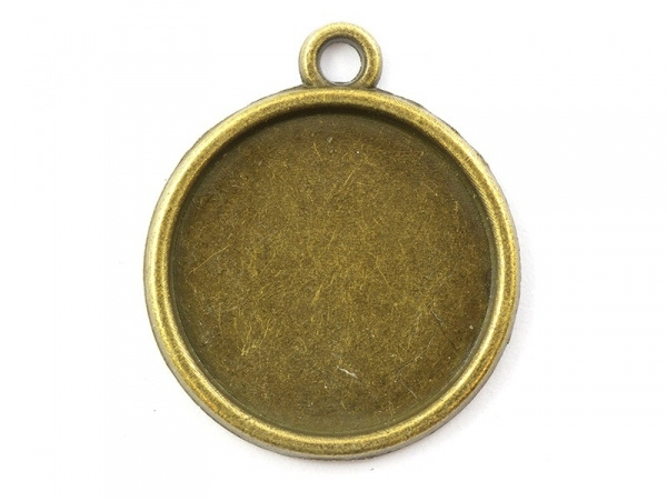 1 round bronze-coloured pendant with a cabochon base - 19 mm