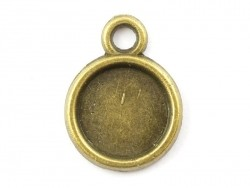 1 breloque support pour cabochon bronze rond - 8 mm