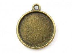 1 round bronze-coloured pendant with a cabochon base on both sides - 19 mm