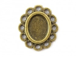 1 oval bronze-coloured pendant with a cabochon base and a scalloped edge - 16 mm