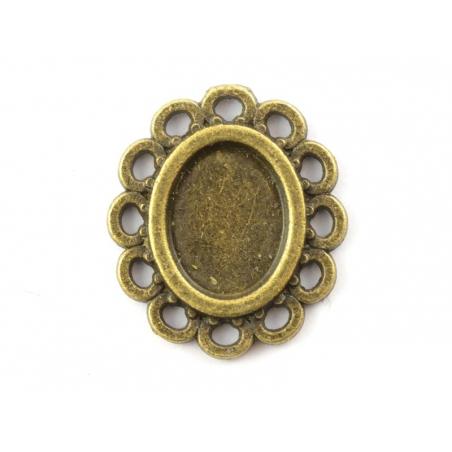 1 breloque support pour cabochon bronze ovale à bord festonné - 8 mm