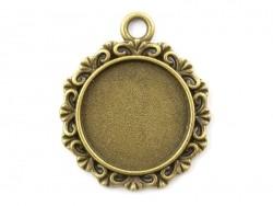 1 breloque support pour cabochon bronze rond baroque - 18 mm  - 1