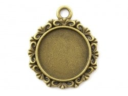 1 round, bronze-coloured pendant with a cabochon base - 25 mm