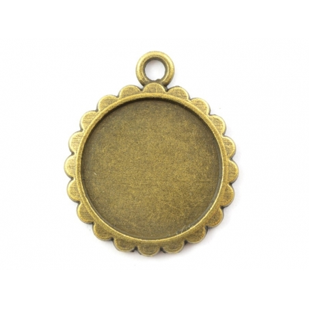 Acheter 1 breloque support pour cabochon bronze rond à feston - 15 mm - 0,79€ en ligne sur La Petite Epicerie - 100% Loisirs...