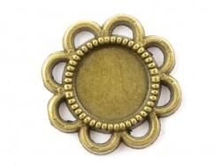 1 breloque support pour cabochon bronze rond fleur - 8 mm