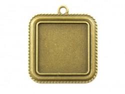 1 breloque support pour cabochon bronze carré - 25 mm  - 1