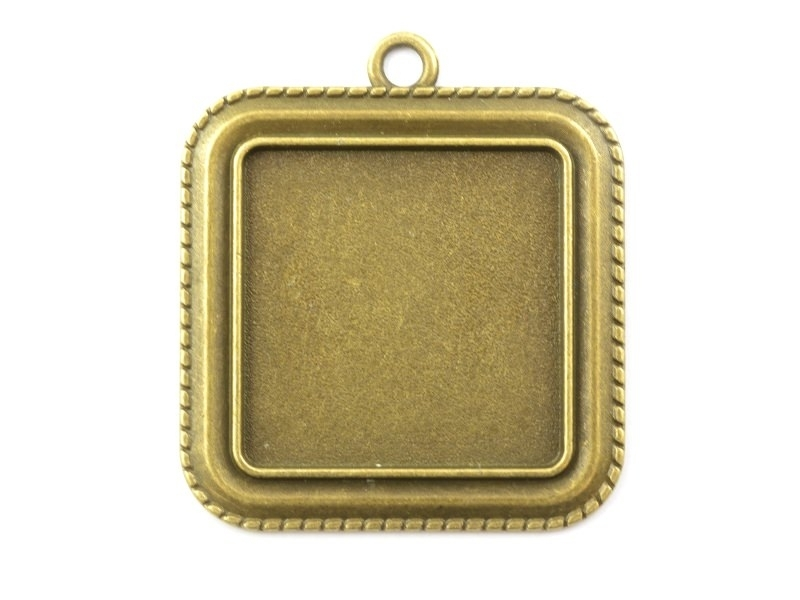 1 square bronze-coloured pendant with a cabochon base - 35 mm