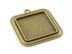 1 breloque support pour cabochon bronze carré - 25 mm