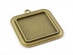 1 breloque support pour cabochon cuivrée carré - 35mm