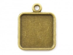 1 square bronze-coloured pendant with a cabochon base - 18 mm