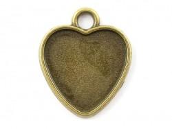 1 breloque support pour cabochon bronze coeur - 14 x 15 mm  - 1