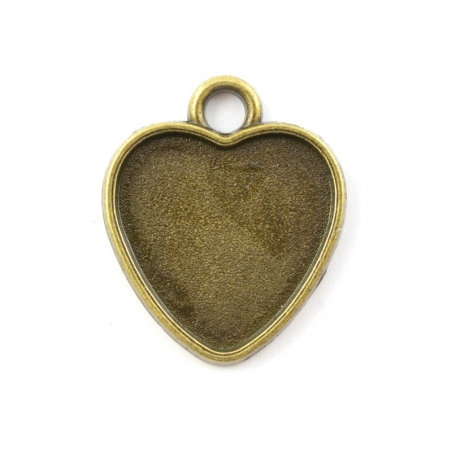 1 heart-shaped bronze-coloured pendant with a cabochon base - 21 mm